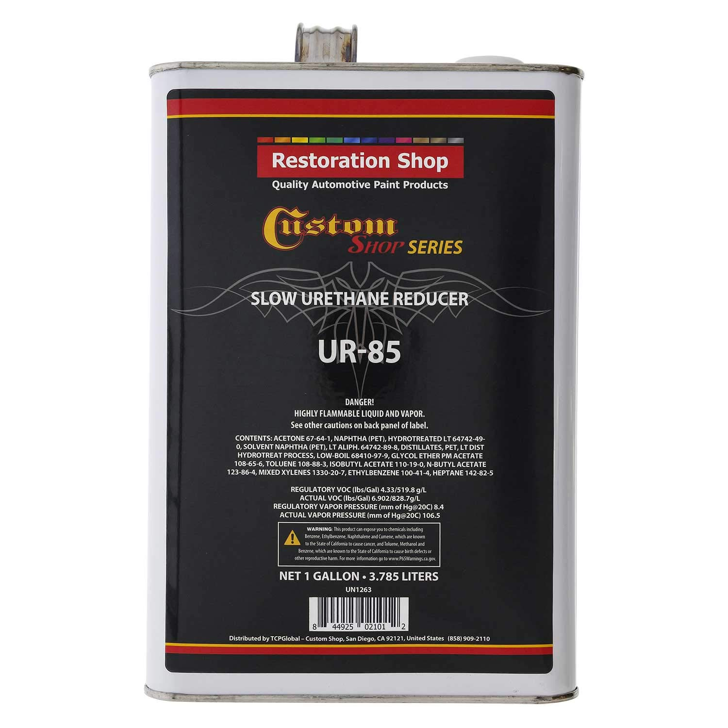 Restoration Shop/Custom Shop - UR85 Slow Urethane Reducer (Gallon) - High Perfomance Automotive Grade for Automotive Paint and Industrial Paint Use - For Higher Temperature Condition increase Flow