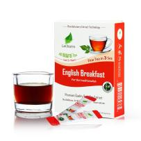 English Breakfast Instant Tea on the Go LeCharm 100% Natural Tea Extract, Unsweetened Drink Instant Crystallized Tea Powder for Pure Water, Iced Tea and Hot Tea(10 Sachets)