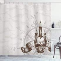 """Ambesonne Compass Shower Curtain, Compass with Skull and Candles Spooky Adventure New Pirate Destinations Theme, Cloth Fabric Bathroom Decor Set with Hooks, 70"""" Long, Brown Grey"""