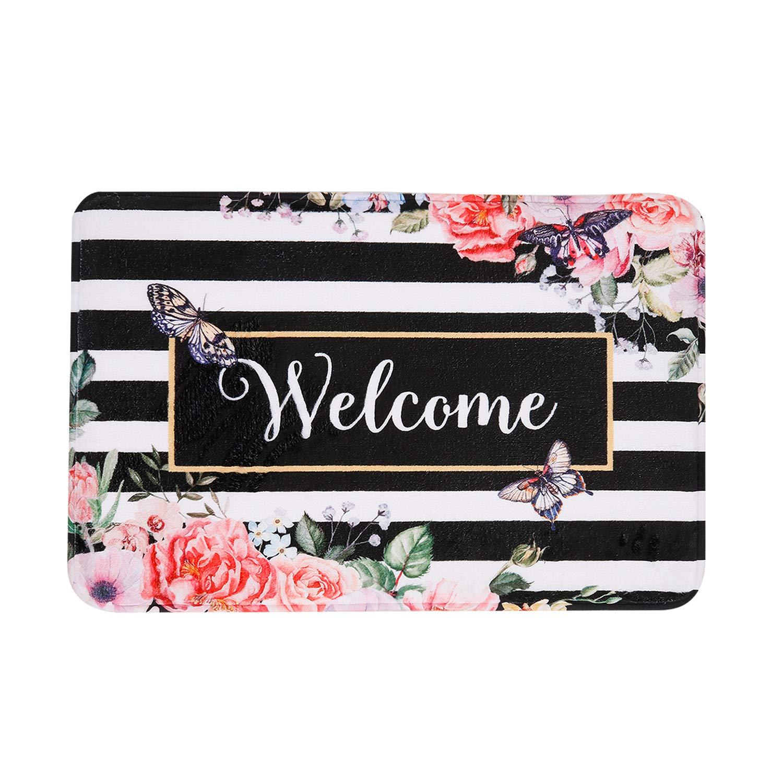 "LIVILAN White Black Stripe Bath Mat Floral Memory Foam Bathroom Rug, Thick Shaggy Bathroom Floor Carpet, Absorbent Super Cozy Non Slip Machine Wash and Dry, 16"" X 24"", Multi-Color"