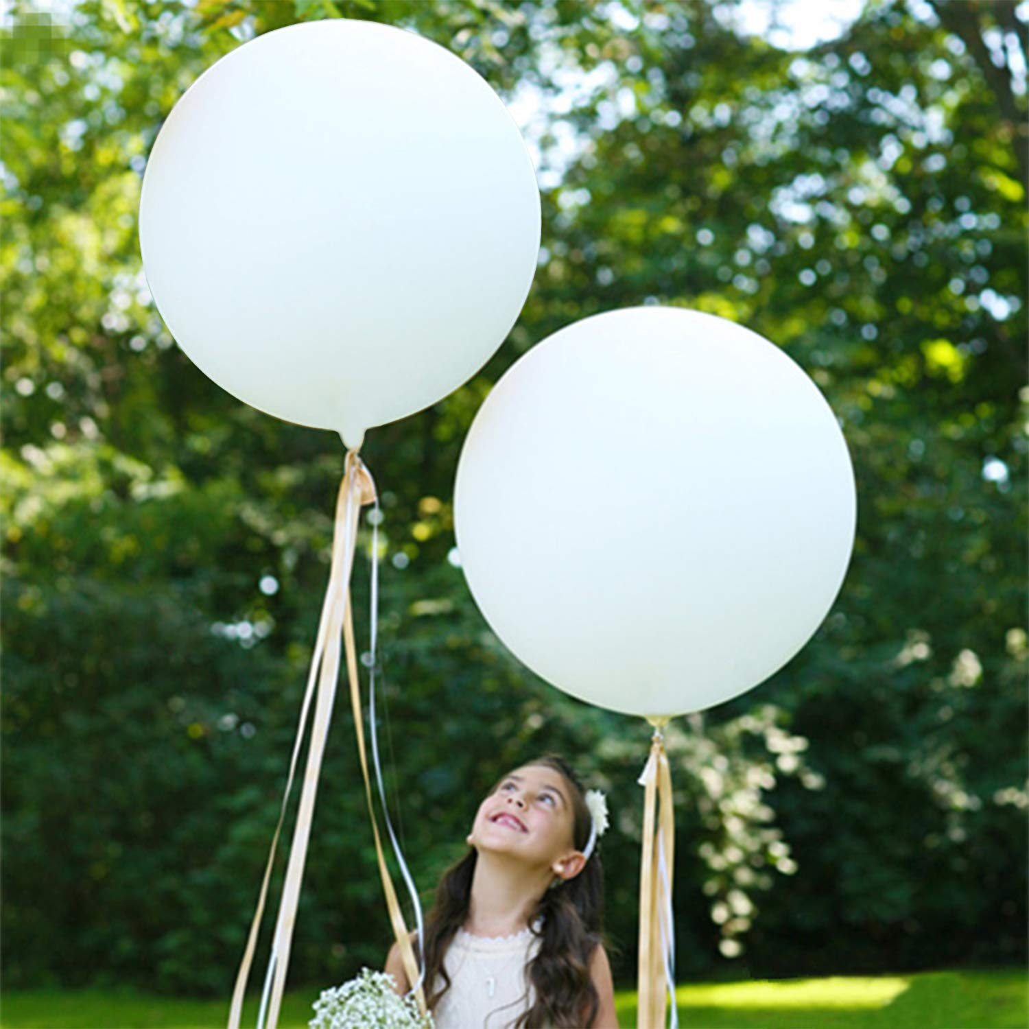 5PCS Large White Balloons Giant 36 Inch White Balloons - Decorations for Birthday Wedding Party Baby Shower Carnival Venlentine's Day Decorations