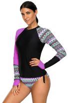 SailBee Women's UV Sun Protection Long Sleeve Rash Guard Wetsuit Swimsuit Set