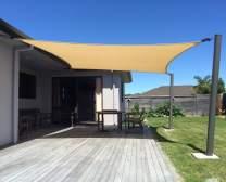 SUNNY GUARD 13' x 19.5' Rectangle Sun Shade Sail UV Block for Outdoor Patio Garden - Sand