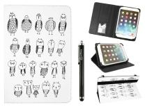 Emartbuy Universal 10-11 Inch Monochrome Owls Multi Angle Folio Wallet Case Cover with Card Slots Black Elastic Strap and Stylus Pen Compatible with Selected Devices Listed Below