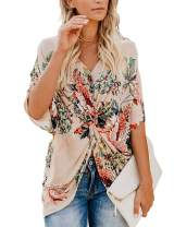 HUHHRRY Floral Printed Vest Loose Tunic Top Shirt for Women Summer Wear Tee