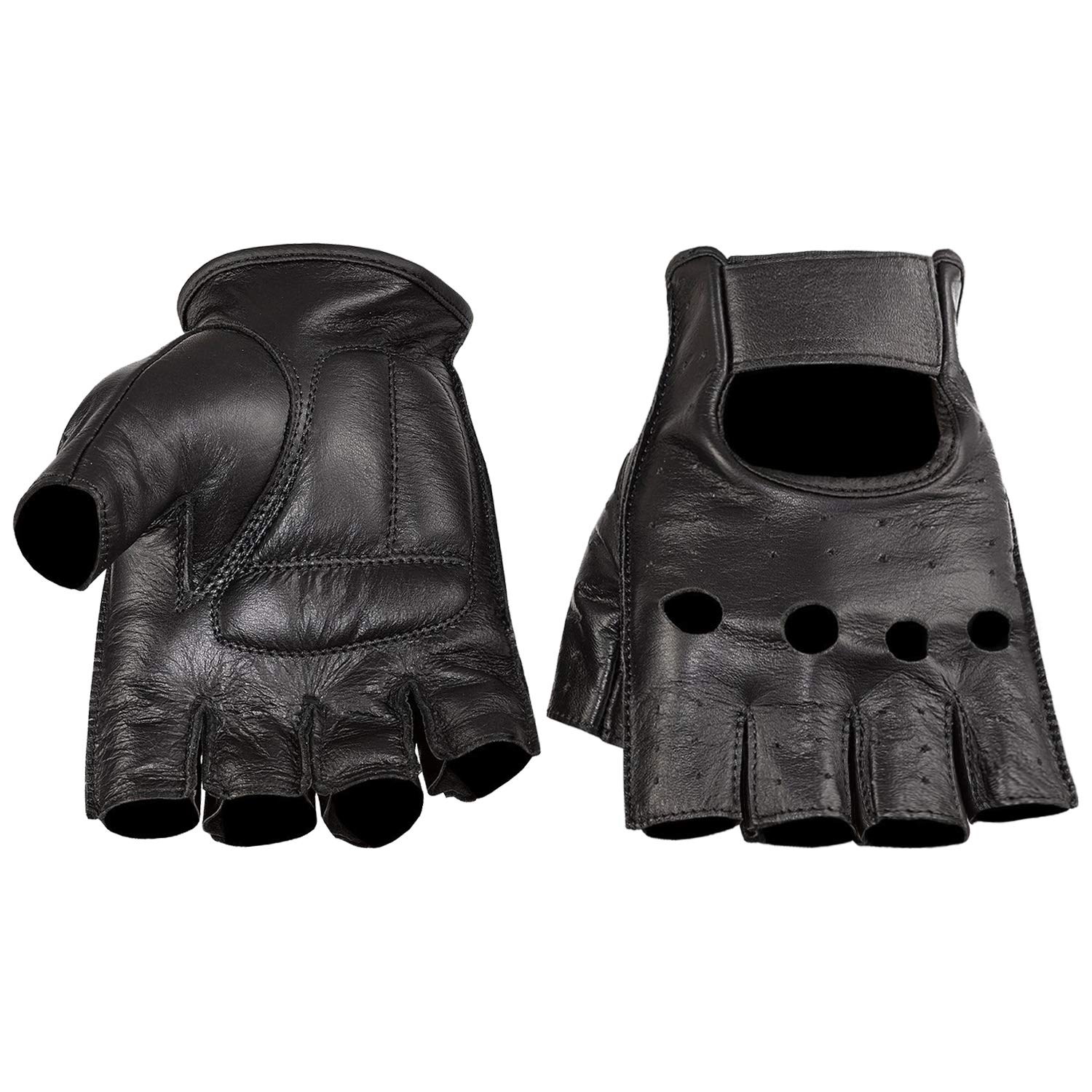 Viking Cycle Premium Heavy Duty Half Finger Padded Genuine Black Leather Motorcycle Riding Gloves For Men (Black, M)