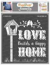 CrafTreat Stencils for painting on Wood, Canvas, Paper, Fabric, Floor, Wall and Tile - Lovely Home - 12x12 Inches - Reusable DIY Art and Craft Stencils for Home Décor - Wall Stencil Quotes