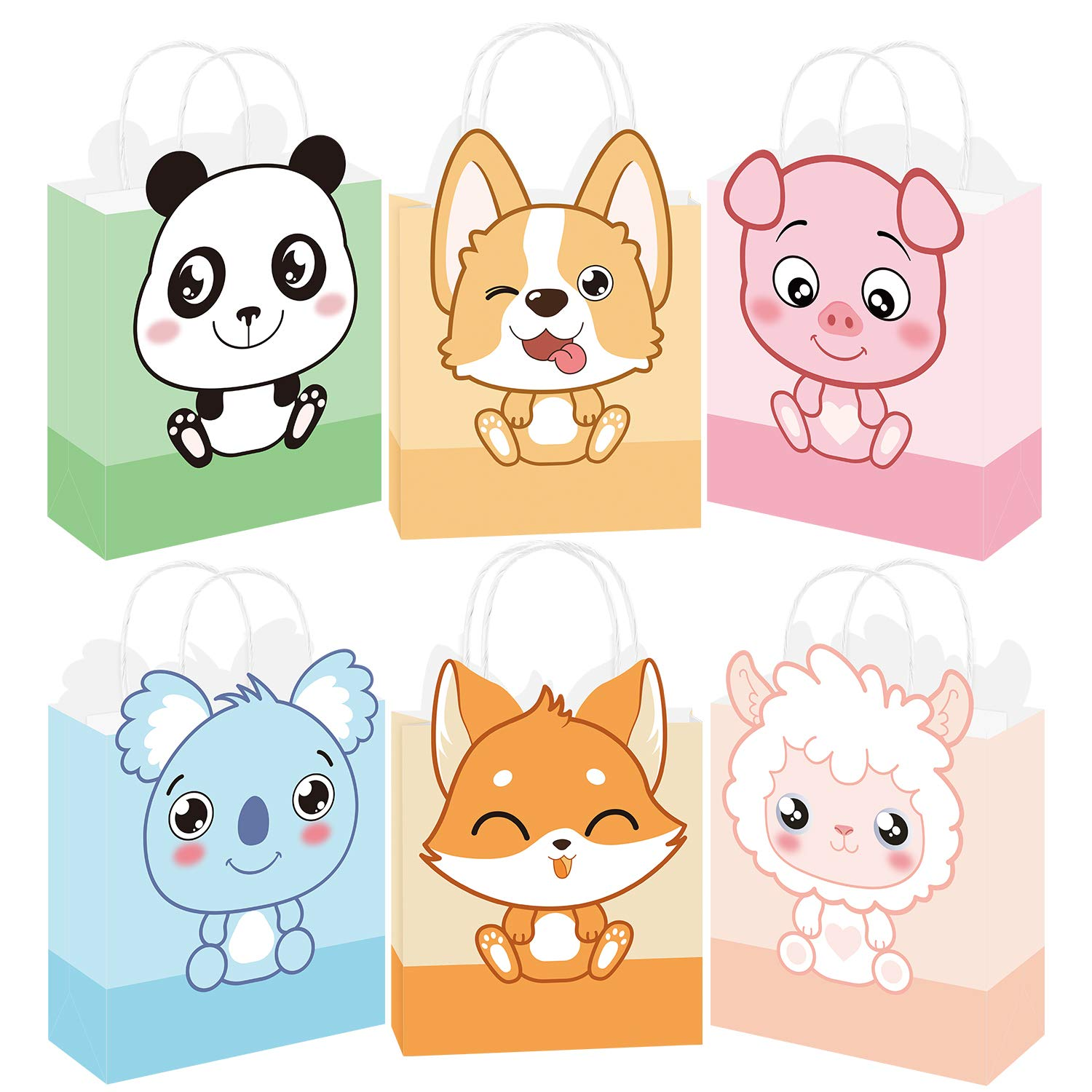Whaline 18pcs Animal Bags Craft Paper Bag with Handle Cartoon Gift Treat Bags Candy Bags Kid Shopping Bags Fox, Corgi, Panda, Pig, Koala, Sheep for Party Baby Shower Birthday Favor Decorations Supply
