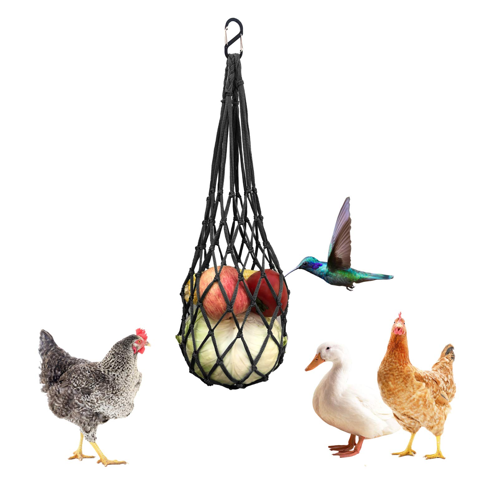 Chicken Vegetable String Bag , Poultry Fruit Holder Chicken Cabbage Feeder Treat Feeding Tool with Hook for Hens Chicken Coop Toy for Hen Goose Duck Large Birds (Black)