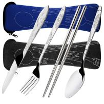 SENHAI 8 Pieces Flatware Sets Knife, Fork, Spoon, Chopsticks, 2 Pack Rustproof Stainless Steel Tableware Dinnerware with Carrying Case for Traveling Camping Picnic Working Hiking