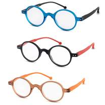 Reading Glasses for Women and Men (3-Pack) Fashion Readers - Retro Round Frame