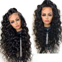 """360 Lace Frontal Wig Pre Plucked 150% Density Brazilian Human Hair Wigs 360 Lace Wig for Black Women with Baby Hair Body Wave Curly Wigs 360 Wigs for High Ponytail Updo Any Part 14"""""""