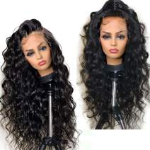 """Human Hair Wigs 360 Lace Wig Pre Plucked 150% Density Human Hair Wig sBody Wave 360 Lace Frontal Wig Curly Wigs Brazilian Human Hair Wigs with Baby Hair 360 Lace Wig 12"""" 1B Color"""