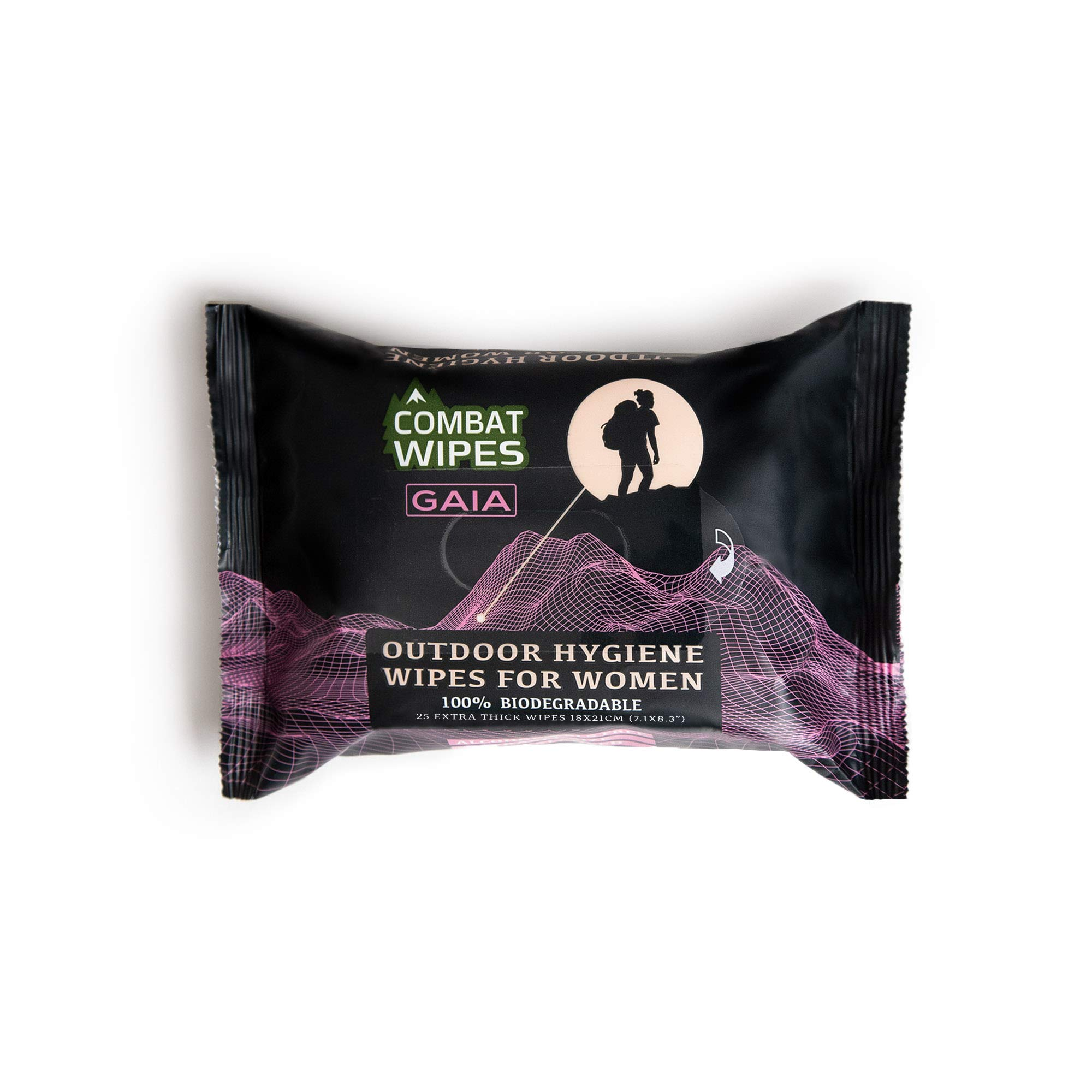 Combat Wipes GAIA | Feminine Hygiene Outdoor Wet Wipes | Extra Thick, Ultralight, Biodegradable, pH Balanced Body & Hand Cleansing Cloths for Women w/ Natural Aloe & Vitamin E  (25 Pack)