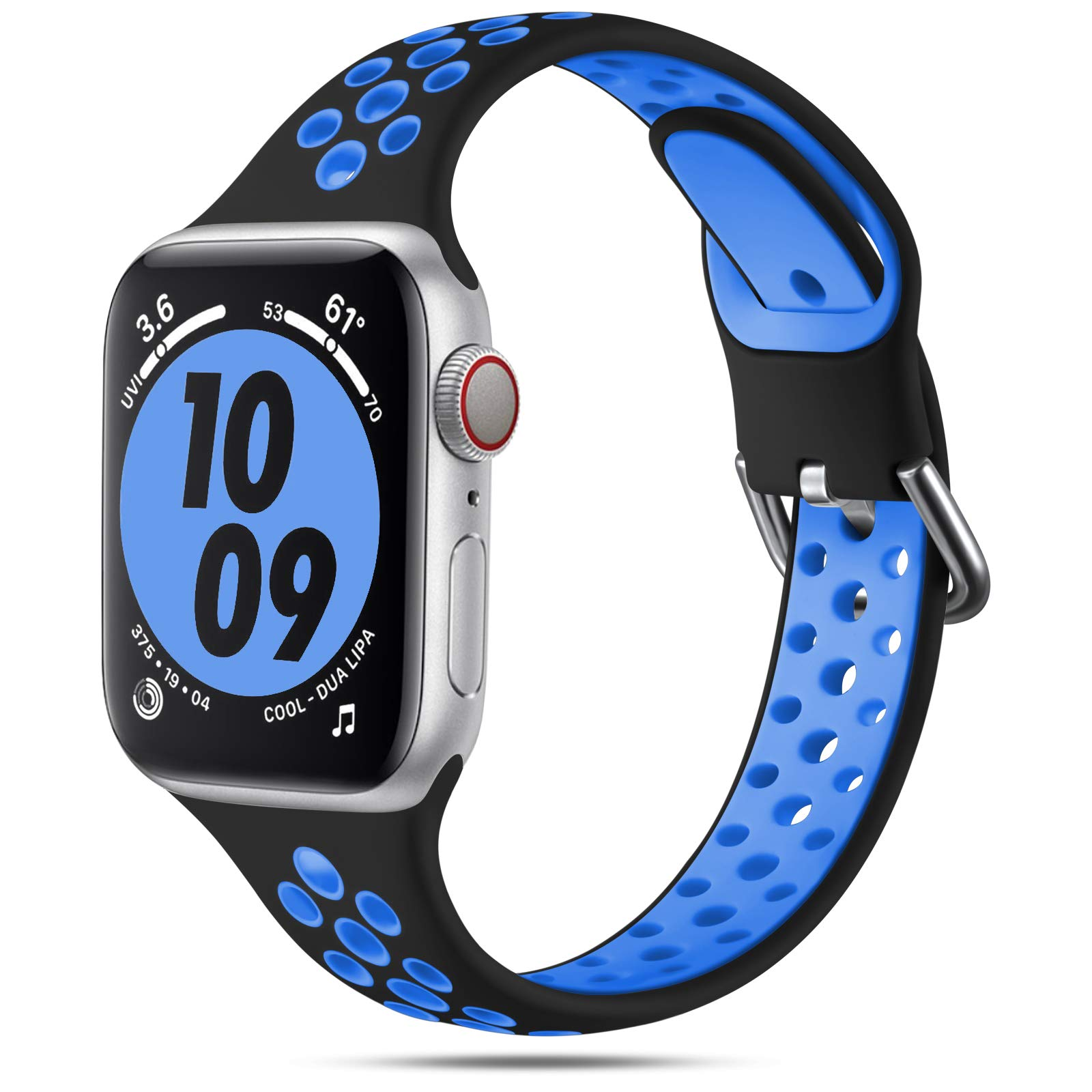 Henva Compatible with Apple Watch Band 38mm 40mm for Women Girls, Slim Soft Breathable Silicone Sport Band with Air Holes Compatible for iWatch Series SE/6/5/4/3/2/1, Black/Blue