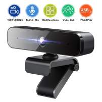 1080P HD Webcam with Microphone, Web Camera for Studying Online, Video Conferencing, Recording, Streaming, 360-Degree Rotation, Noise Reduction, USB Port Plug and Play