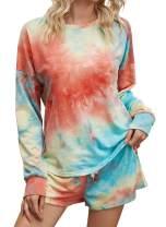 JomeDesign Tie Dye Printed Pajamas Set for Women Long Sleeve Tops and Shorts PJ Set Loungewear Sleepwear