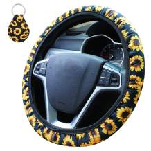 Accmor Sunflower Steering Wheel Cover, 15 inch Universal Steering Wheel Covers Neoprene Automotive Steering Cover with 1 Pcs Key Chain, Anti Slip & Sweat Absorption Car Wheel Covers for Women Girls