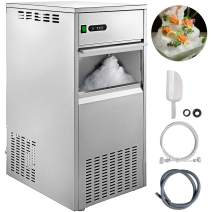 VBENLEM 220LBS/24H Snowflake Ice Maker Commercial Ice Machine Countertop Stainless Steel Ice Maker Machine Freestand Ice Crusher Suit for Seafood Restaurant Bar Coffee Shop Home Use