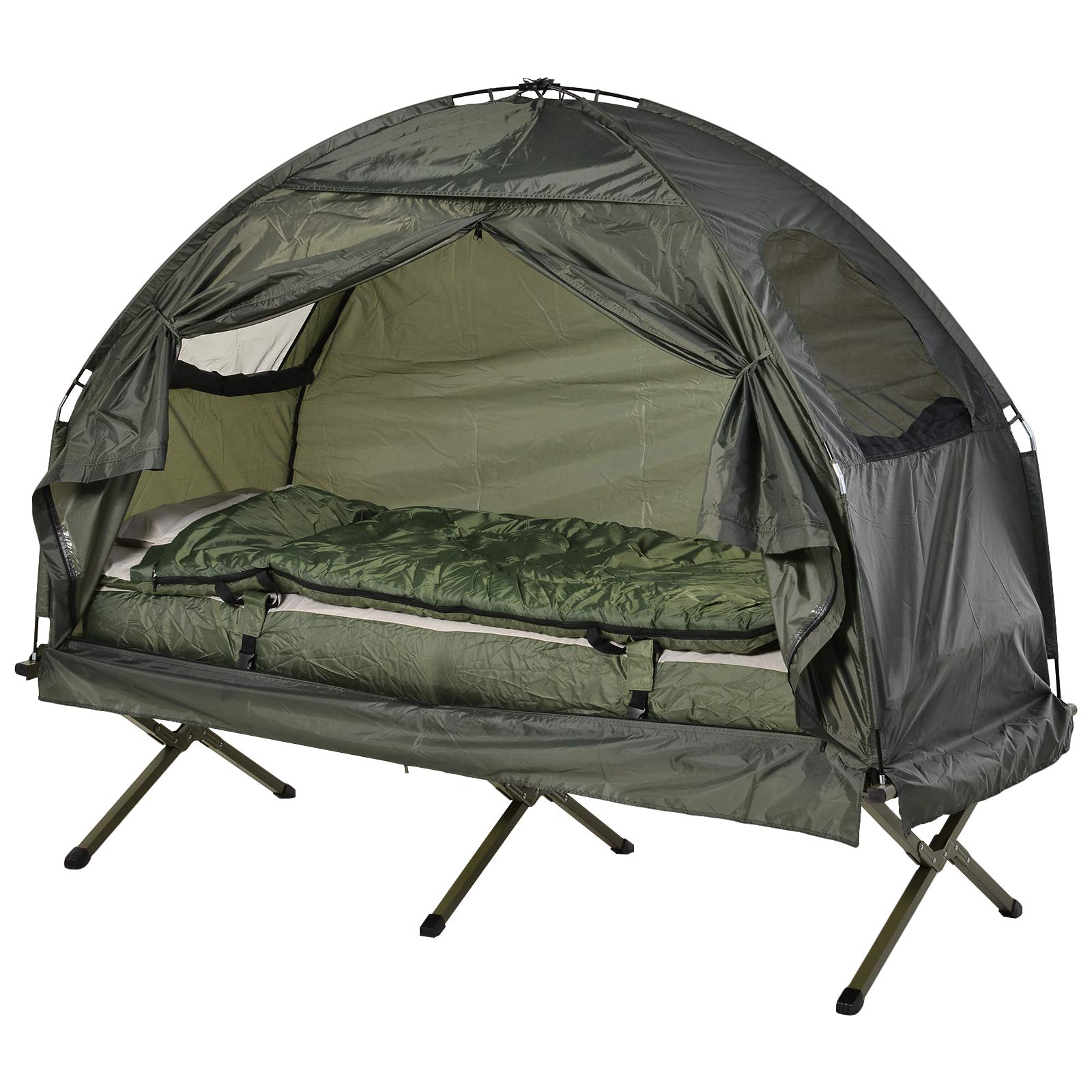 Outsunny All-in One Portable Camping Cot Tent with Air Mattress, Sleeping Bag, and Pillow