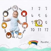 Baby Monthly Milestone Blanket Cartoon Animal Theme, Homegician Photography Props Newborn Newborn Unique Gifts Super Soft Baby Shower Come with Frame