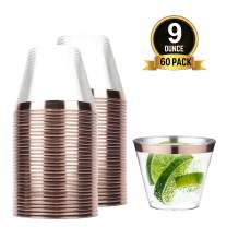 TOROTON Plastic Cups 9 oz, 60 Clear Disposable Plastic Cups with Rose Gold Rimmed, Elegant Wedding Cocktail Party Tumblers