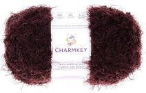 Charmkey Smooth Fur Yarn Super Soft Feeling 5 Bulky Fluffy Solid Colors Knitting Craft Polyester Fuzzy Nylon Yarn for Sweater Shawl Scarf Animal Toys and More, 1 Skein, 3.35 Ounce (Brown Stone)