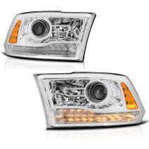 VIPMOTOZ Chrome Housing OE-Style Projector Headlight Headlamp Assembly For 2013-2018 RAM 1500 2500 3500 Pickup Truck, Driver & Passenger Side