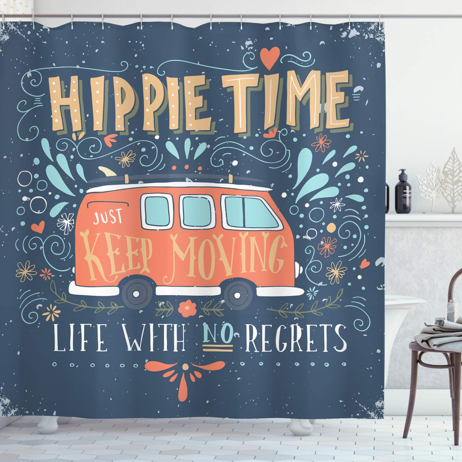 """Ambesonne Hippie Shower Curtain, Hippie Motivational Words with Flowers Dots and Drop Like Ornaments Print, Cloth Fabric Bathroom Decor Set with Hooks, 75"""" Long, Slate Blue"""