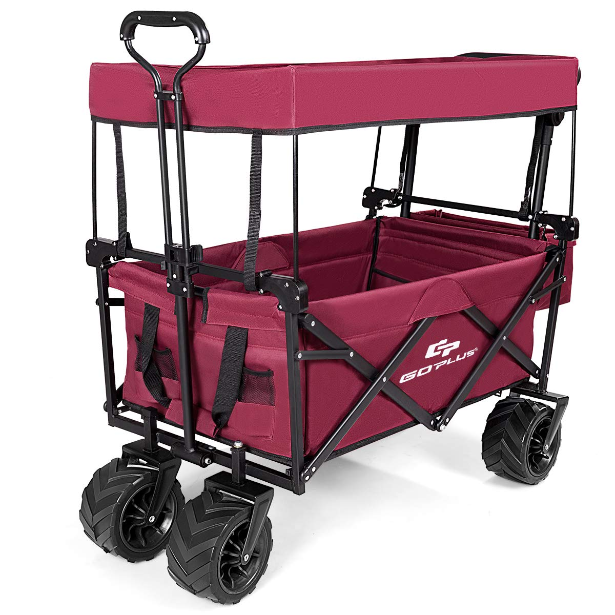 Goplus Collapsible Folding Wagon Cart, Utility Garden Cart Collapsible Outdoor Trolley with Sun/Rain Shade, Push Bar for Shopping, Beach, Lawn, Sports
