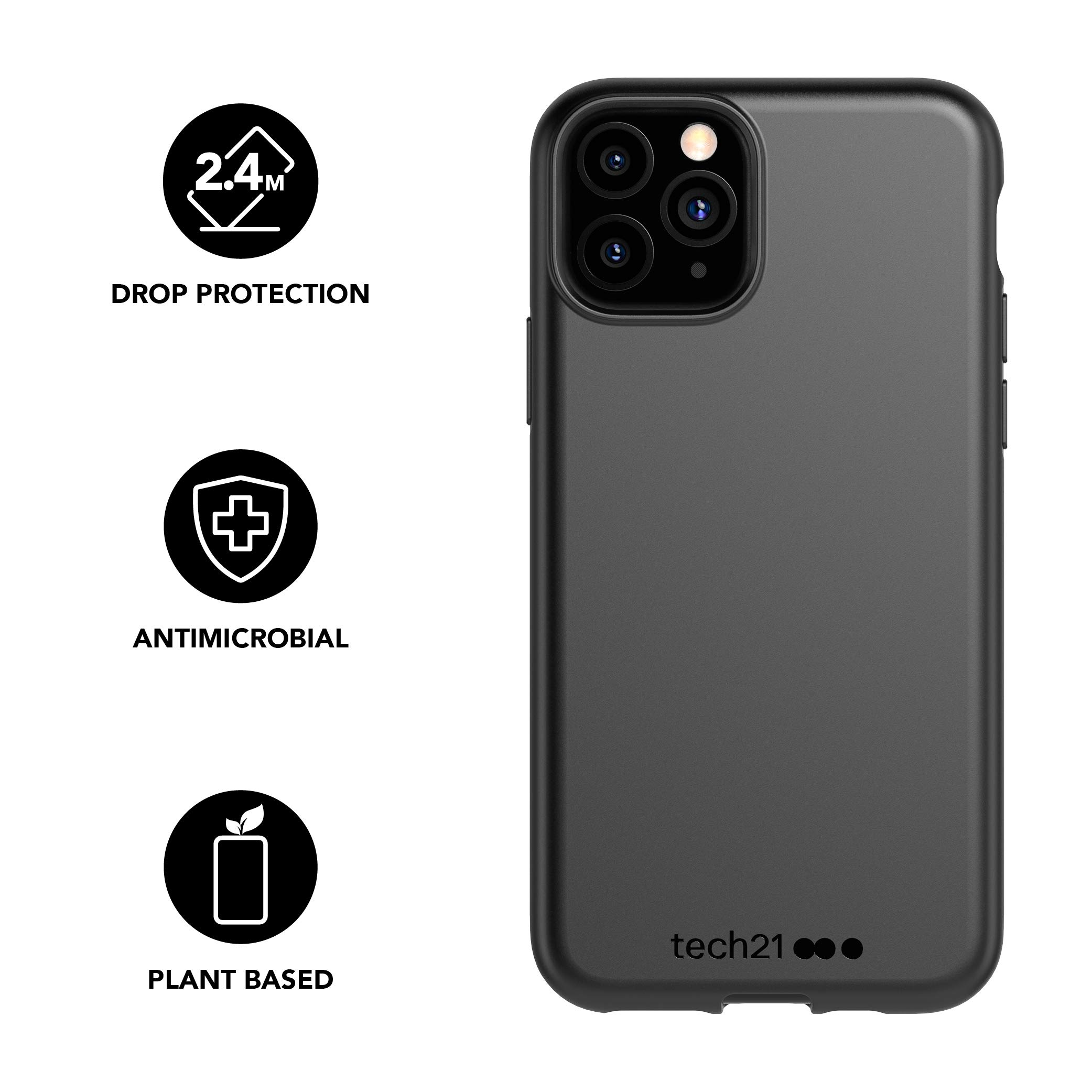 tech21 Studio Colour Mobile Phone Case - Compatible with iPhone 11 Pro - Slim Profile with Anti-Microbial Properties and Drop Protection, Black