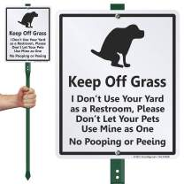 """SmartSign """"Keep Off Grass"""" LawnBoss Funny Dog Poop Sign 
