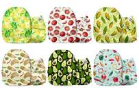 Mama Koala One Size Baby Washable Reusable Pocket Cloth Diapers, 6 Pack with 6 One Size Microfiber Inserts (A Fruit & Tacos)
