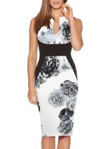 Fantaist Women's Sleeveless Deep V Neck Floral Print Cocktail Party Pencil Dress