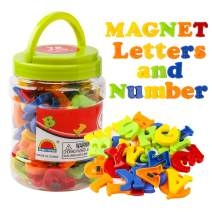 JCREN Magnetic Alphabet Magnets Letters and Numbers Toy ABC 123 Fridge Plastic Toy Set Educational Magnetic in Bucket Preschool Learning Spelling Counting Uppercase Lowercase Math Symbols for Toddler