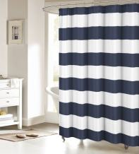 Fabric Shower Curtain: Nautical Stripe Design (Navy and White) 66x72inch