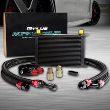 25 Row AN10-10AN Universal Aluminum Engine Transmission Oil Cooler Kit Oil Filter Adapter Kit Black