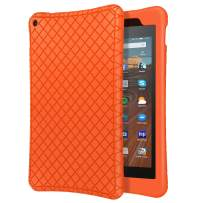 """MoKo Case Fits All-New Fire HD 10 Tablet (7th Generation/9th Generation, 2017/2019 Release), Shockproof Soft Silicone Back Cover [Kids Friendly] for Fire HD 10.1"""" - Orange"""