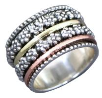 Energy Stone Daisy Sterling Silver Meditation Spinner Ring for Women with 4 Spinners in Silver Brass and Copper (Style US16)