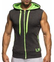 LemonGirl Mens Bodybuilding Sleeveless Hoodie Gym Tank Top,X-Large,Deepgray
