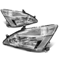Replacement for 03-07 Honda Accord Pair of Chrome Housing Clear Corner Replacement Headlights/Lamps