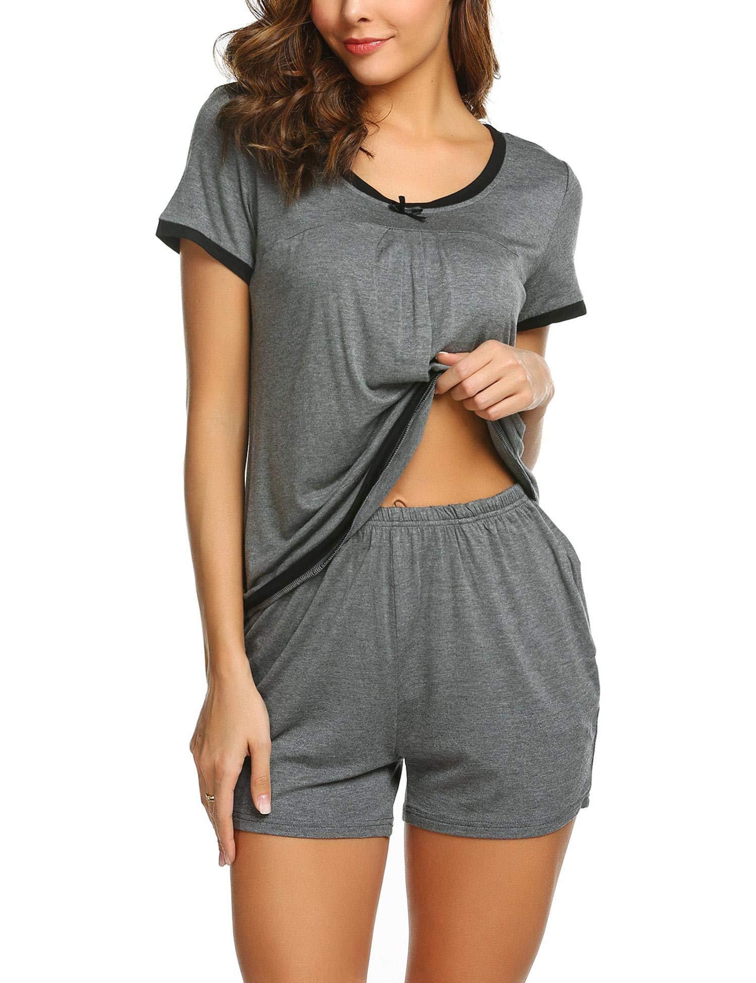 Ekouaer Women's Pajama Set Short Sleeve Sleepwear Pjs Sets Nightwear Sets S-XXL