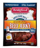 Bridgford Sweet Baby Ray's Original Beef Jerky, High Protein, Zero Trans Fat, Made With 100% American Beef, 3 oz, Pack of 1