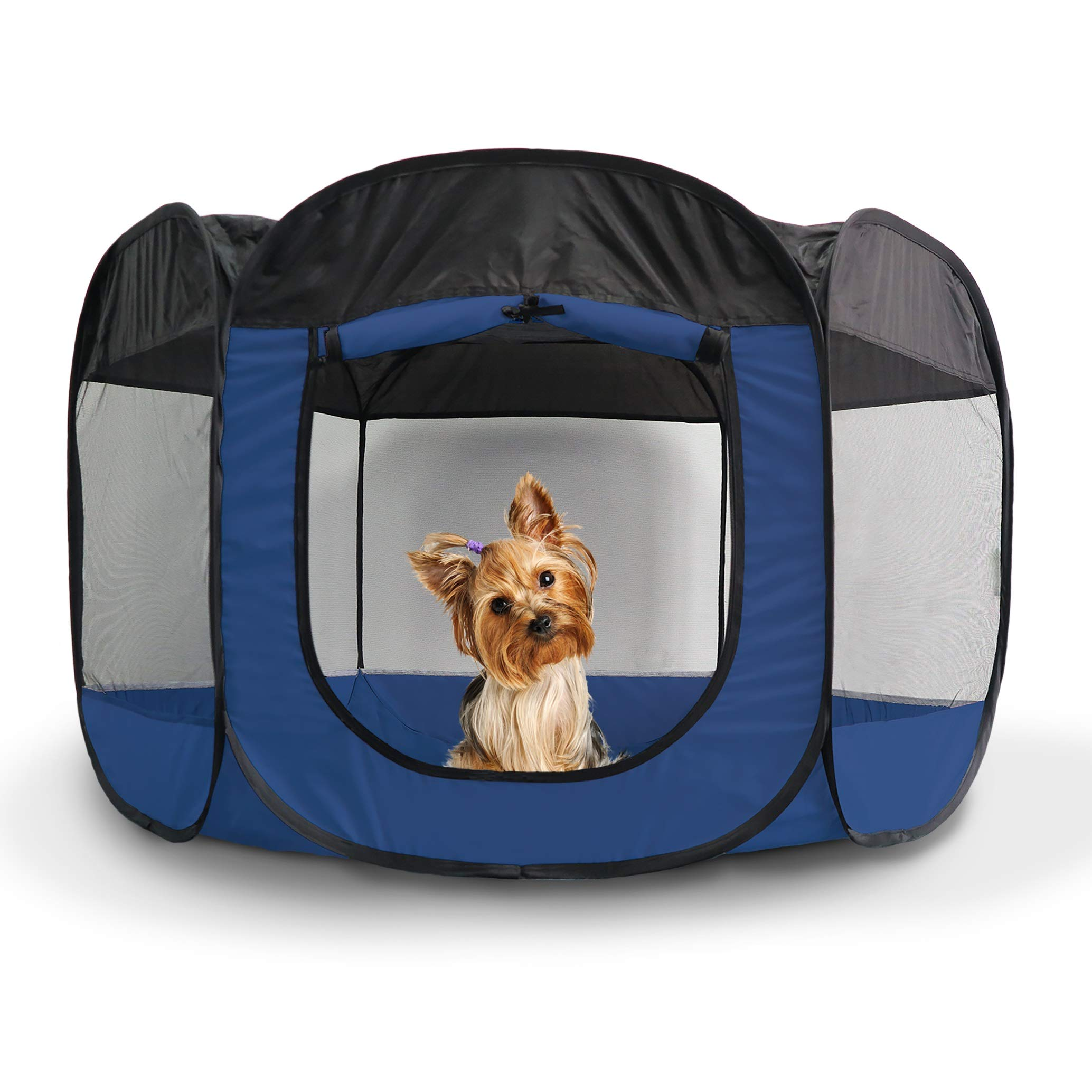 Furhaven Pet Playpen - Indoor/Outdoor Mesh Open-Air Playpen & Exercise Pen Tent House Playground for Dogs & Cats, Sailor Blue, Small