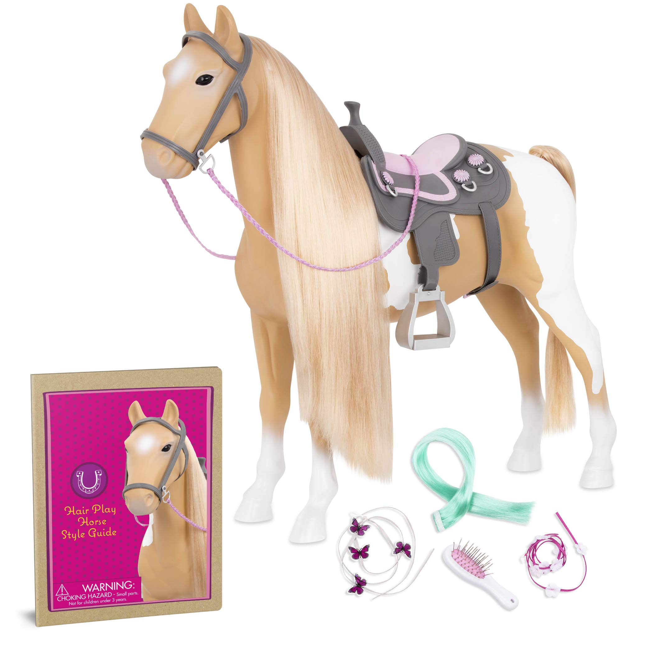 Our Generation By Battat Palomino Paint Horse 20 Hair Play Horse Toys Horse Equestrian Accessories Pets For 18 Dolls For Age 3 Years Up