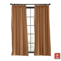 TWOPAGES Flame Retardant Wide Width Curtain Blackout Thermal Insulated Curtain for Kitchen, Fire Resistant Curtain Window Drape (Brown, 1 Panel, W120 x L96 Inches)