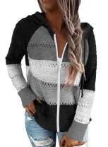 Pevilo Women's Zip Up Hoodie Jacket Lightweight Long Sleeve Color Block Knitted Sweatshirt Hoodie
