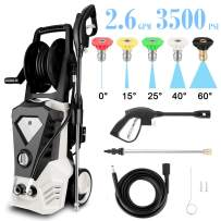 Power Washer Electric High Pressure Washer 1800W, 3500 Max PSI 2.6 GPM Car Pressure Washer Patio Cleaner Machine with Spray Gun, 10m High Pressure Hose and 5 Interchangeable Nozzles (US Stock) (Beige)