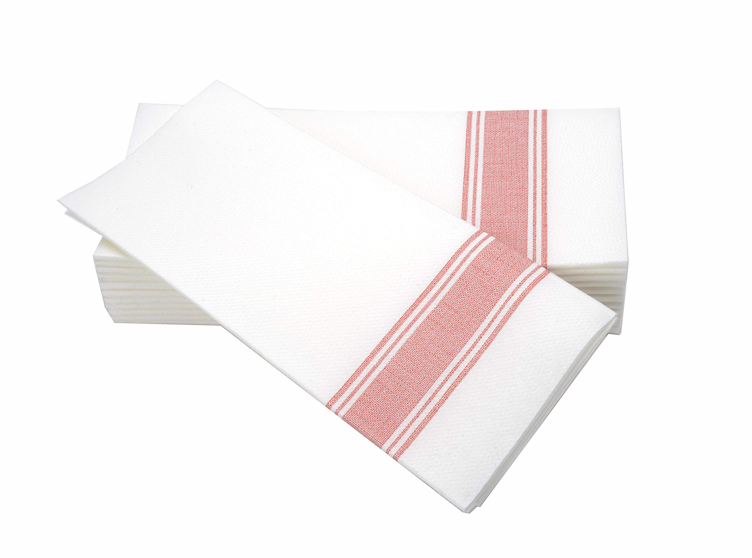 """Simulinen Dinner Napkins -Red Stripe Bistro- Decorative Cloth Like & Disposable Large Napkins - Soft, Absorbent & Durable (19""""x17"""" - Box of 60)"""