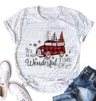 It's The Most Wonderful Time of The Year T Shirt Women Christmas Shirt Funny Truck Christmas Tree Graphic Print Tee Tops